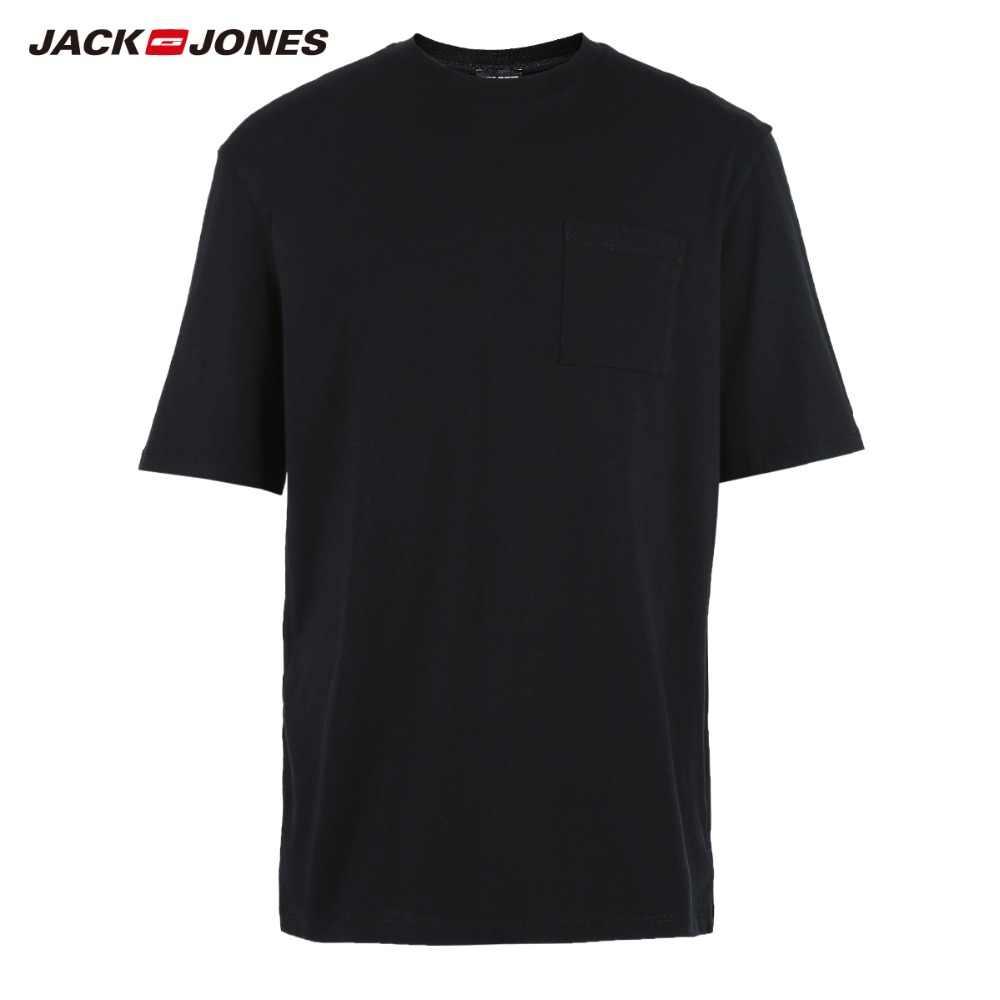 JackJones & MRML мужские 100% хлопок 3D патч карман круглый вырез с коротким рукавом футболки | 218301510