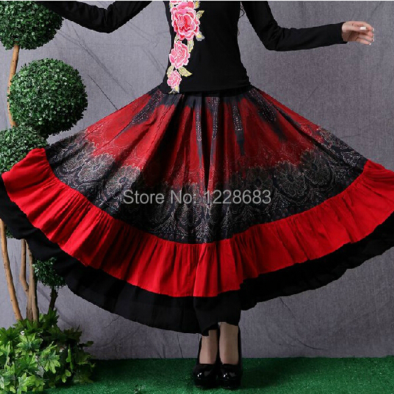 Free Shipping New 2014 Hot Sale Fashion Red Black Ballroom Dance Belly Dance Gypsy Clothing Women Adult Lady Long Gypsy Skirts