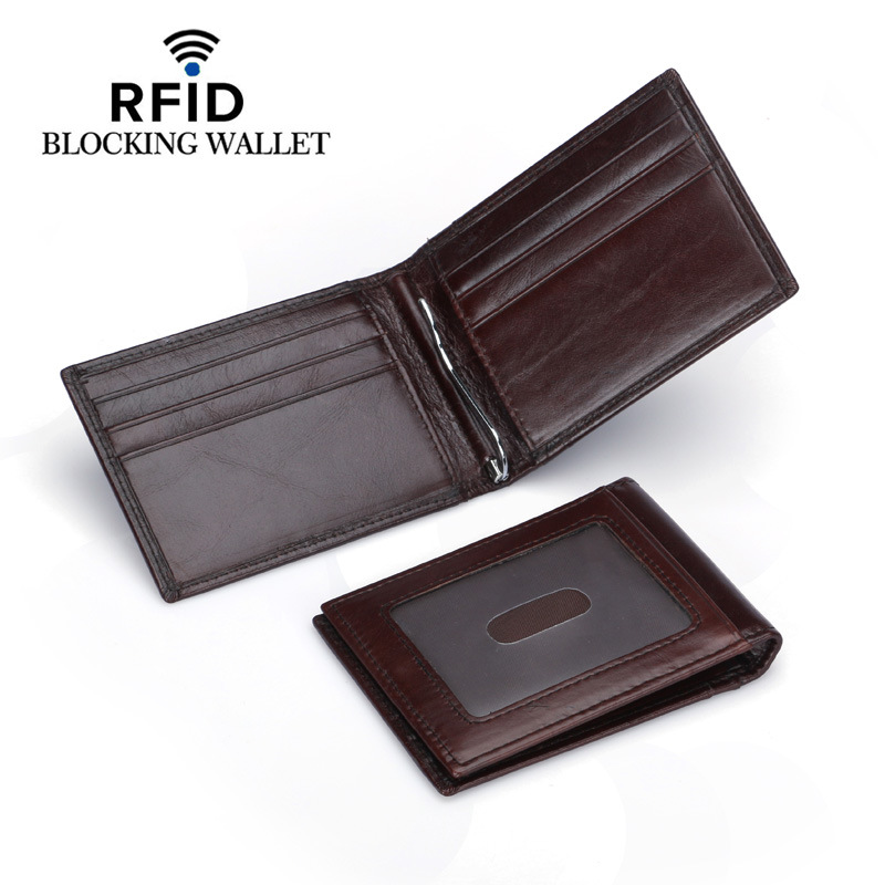 цена на RFID Blocking Mini Money Clip Men Genuine Leather Wallet Male Brand Casual Bifold Slim wallet Purse ID Credit Card Case Holder