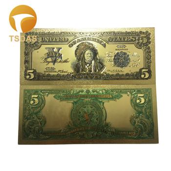 USA złoty banknot 5 banknotów dolarowych w 24K pozłacane kolorowe banknoty na prezent kolekcjonerski tanie i dobre opinie TSDAS Ludzi Z tworzywa sztucznego Europa gold banknote gold foil + pet Souvenir home decoration 100pcs opp bag