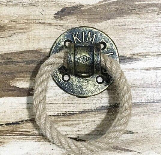 2Pieces/Lot Diameter:7cm Bronze Color Flange Ring Door Handle Hemp Rope Furniture Handle