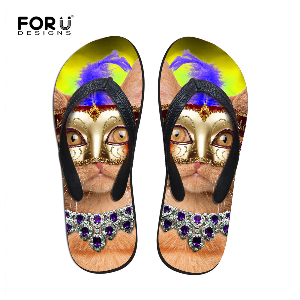 75a0ac2b73a4e9 New Ssummer Lovers Slippers Mask Cat Flip Flops Beach Women Casual Sandals  Fashion Designer Flat Heel