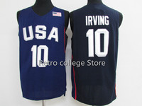 Retro College Stitched 10 Kyrie Irving White Bule Team Usa Basketball Jersey Embroidery Stitched