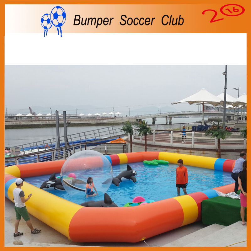 Free Shipping! Free Pump ! Outdoor Inflatable Water Games PVC Tarpaulin Large Inflatable Swimming Pool For Adult and Kids commercial inflatable water slide with pool made of pvc tarpaulin from guangzhou inflatable manufacturer