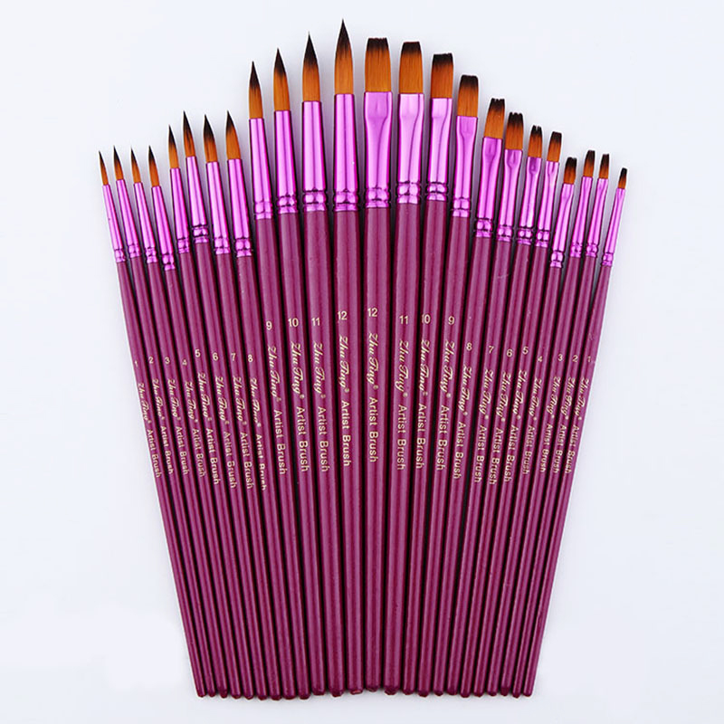 24pcs Size Artist Nylon Hair Paint Brush Set Tip Flat For