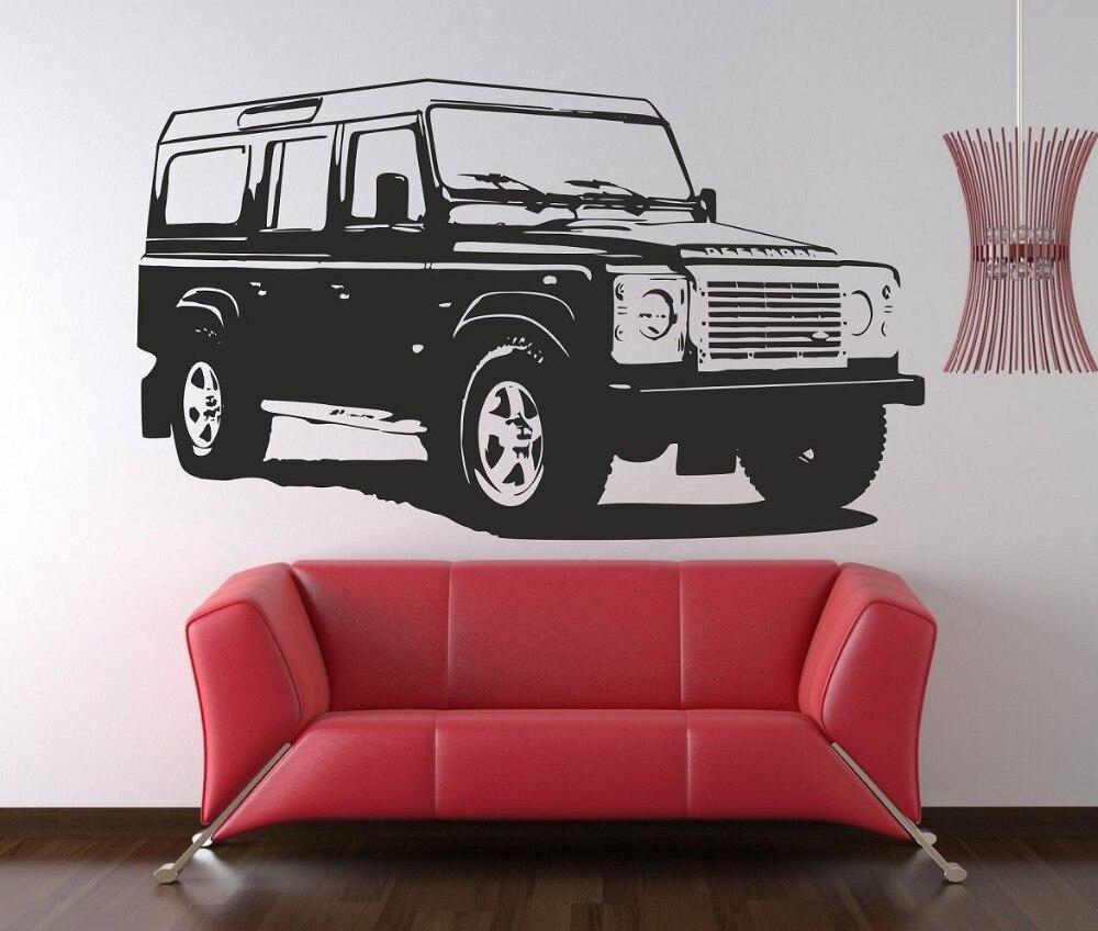 Land Rover Defender-autocollant mural en vinyle   Étiquette de qualité 58X99 CM, pour décor de maison, Art vinyle amovible pour salon