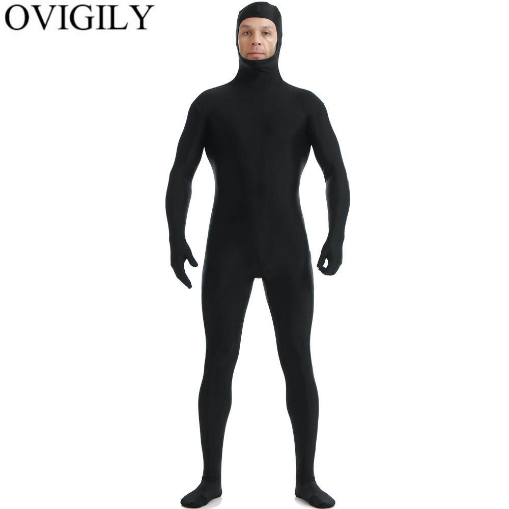 OVIGILY Black Mens Lycra Cosplay Zentai Suit Open Face Full Body Suit Adults Spandex Skin Tight Bodysuit Zentai Costume Back Zip
