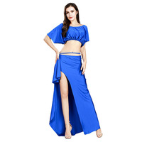 2019 Sexy Belly Dance Long Skirt Top Set Women oriental Belly Indian eastern baladi costume 2pcs Blouse+Long Skirt Dress