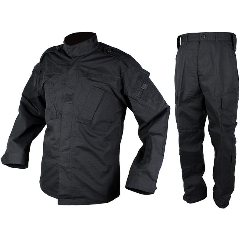 CQC Tactical Airsoft Military Army Uniform BDU Combat Shirt & Pants Set Black Outdoor Paintball Hunting Clothing