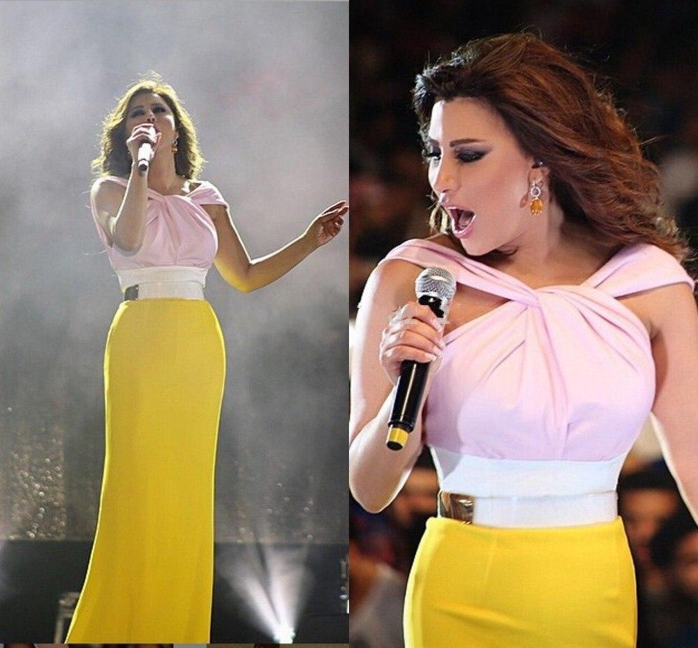 2017 Lebanese Najwa Karam Celebrity Dresses Saudi Arabic Evening Gowns Elegant White&Yellow Dubai Straight Formal Prom Dress