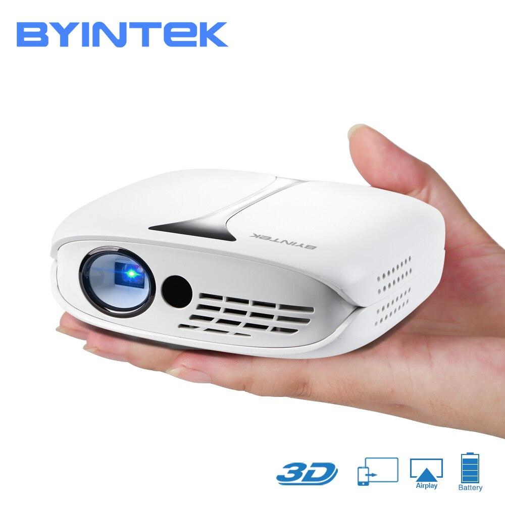 BYINTEK НЛО R7 карман HD Портативный Микро Мини светодио дный 3D DLP мобильный WI-FI проектор с Батарея (Поддержка подключаются к смартфону)