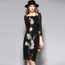 2017 Vintage Elegant Sheath Floral Flower Embroidery Asymmetrical Collar Black Lace Spring Dresses Xl Plus Size Women D007
