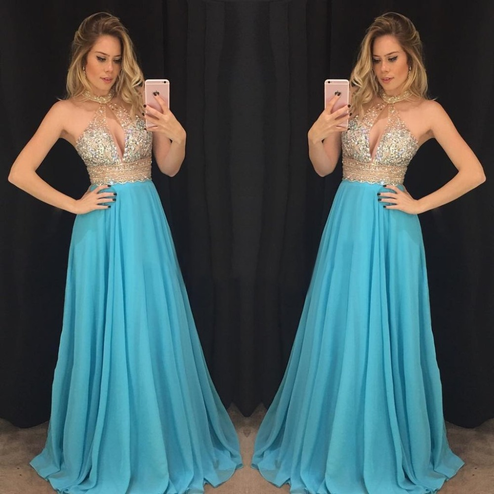Robe de soiree 2019 Beaded Crystal   Prom     Dresses   Long 2019 A Line Chiffon Special Occasion   Dress   Formal Gowns