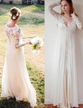 Elegant V-neck Long Sleeves A-line Chiffon Wedding Dress White Gown robe de mariee