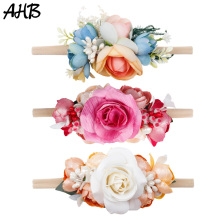 купить AHB Lovely Artificial Flowers Nylon Headband for Baby Girls Summer Elastic Head Band Wrap Photography Props Hair Accessories дешево