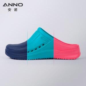 Image 2 - ANNO Soft Work Breathable Shoes for Women Men Light Nurse Clog Anti slip Slipper Flat Hospital Kitchen Beatuty Salon
