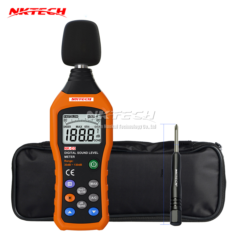 NKTECH NK-D3 Digital Sound Level Noise Meter Logger Tester Audio Decibel Monitor 30-130dB Accuracy 1.5dB Fast/Slow Selection nktech nk s1 digital lcd sound meter noise level 30 130db freq 31 5hz 8khz test sound level meter noise meter vs ms6708