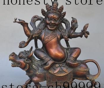 "9"" tibet buddhism bronze Yamantaka Mahakala god buddha ride foo dog beast statue"