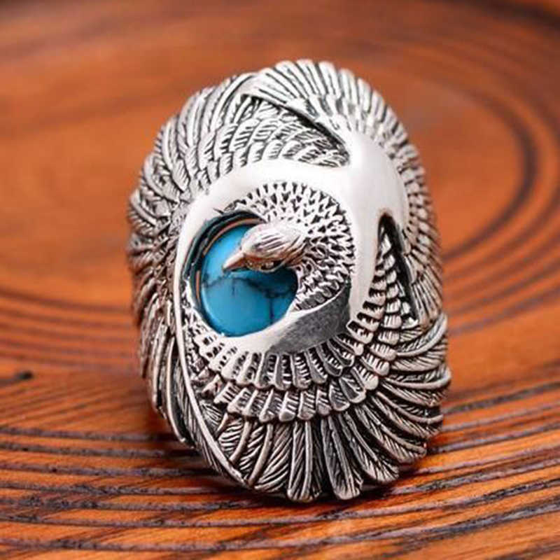 Hot Fashion Flying Bird Silver Color Knuckle Rings For Women Boho Beach Blue Stone Seagull Wild Goose Pattern Finger Ring L4M135