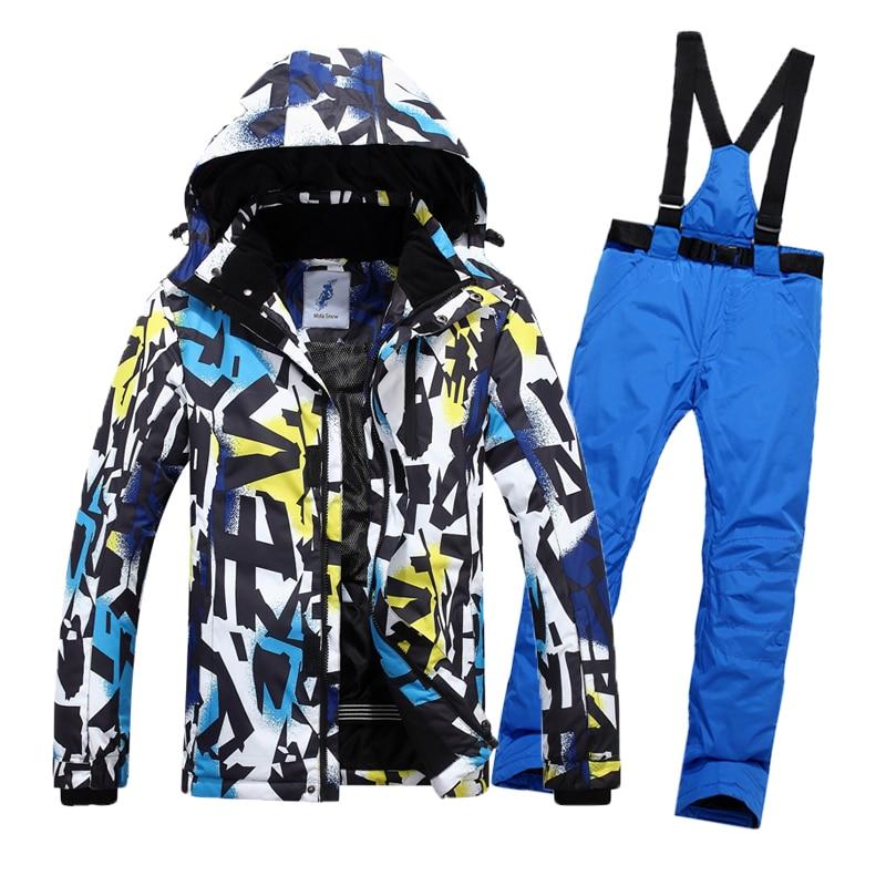 Combinaison de Ski d'hiver hommes Ski de neige mâle vêtements ensemble extérieur thermique imperméable veste pour hommes combinaison de Ski ensemble hommes veste de Snowboard - 4
