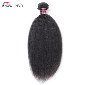 Ishow Kinky Straight Brazilian Hair Weave Bundle Coarse Yaki Human Hair Bundles Yaki Straight Hair Extensions Non Remy Hair