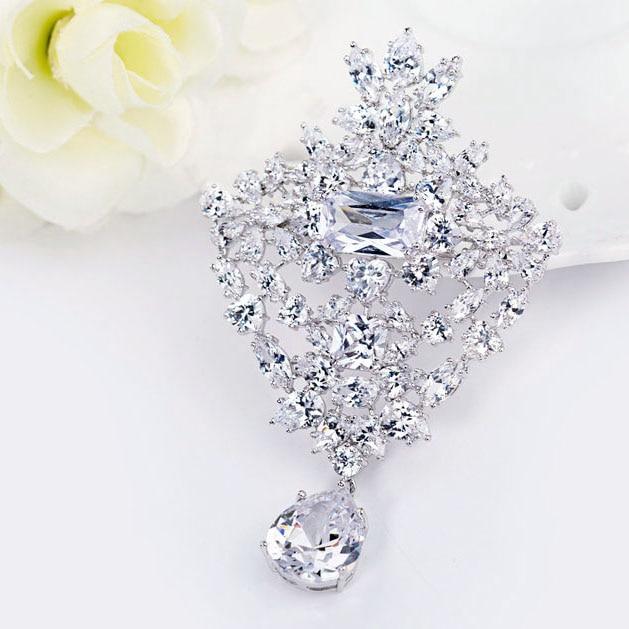 LUOTEEMI Grosir Wedding Bouquet Bros Mewah AAA Grade Putih Cubic - Perhiasan fashion - Foto 3