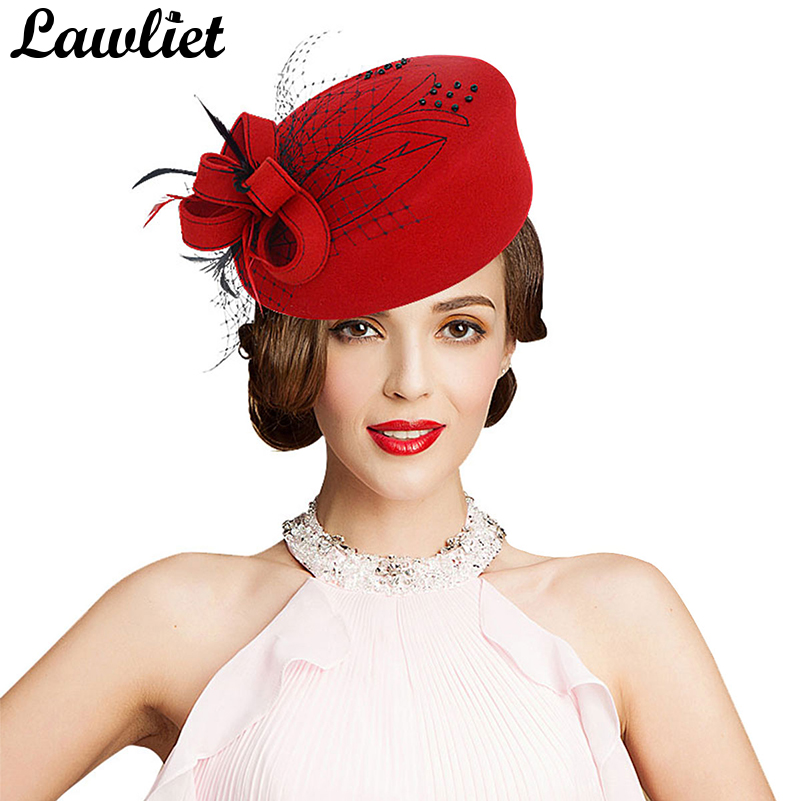 Fascinator Hats for Women Winter Embroidered Veil Wool Felt Pillbox Hats for Formal Cocktail Party Wedding Hats Fedoras A140