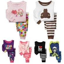 PT1, 1set, Baby Children girls boys pajamas, long sleeve cartoon sleepwear clothing sets for 2-7 year, 100% cotton