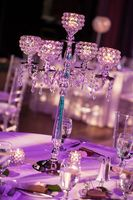 10pcs/lot Romantic Silver Wedding Candelabra crystal 5 arms Candle holders H76cm Luxury Table Centerpiece