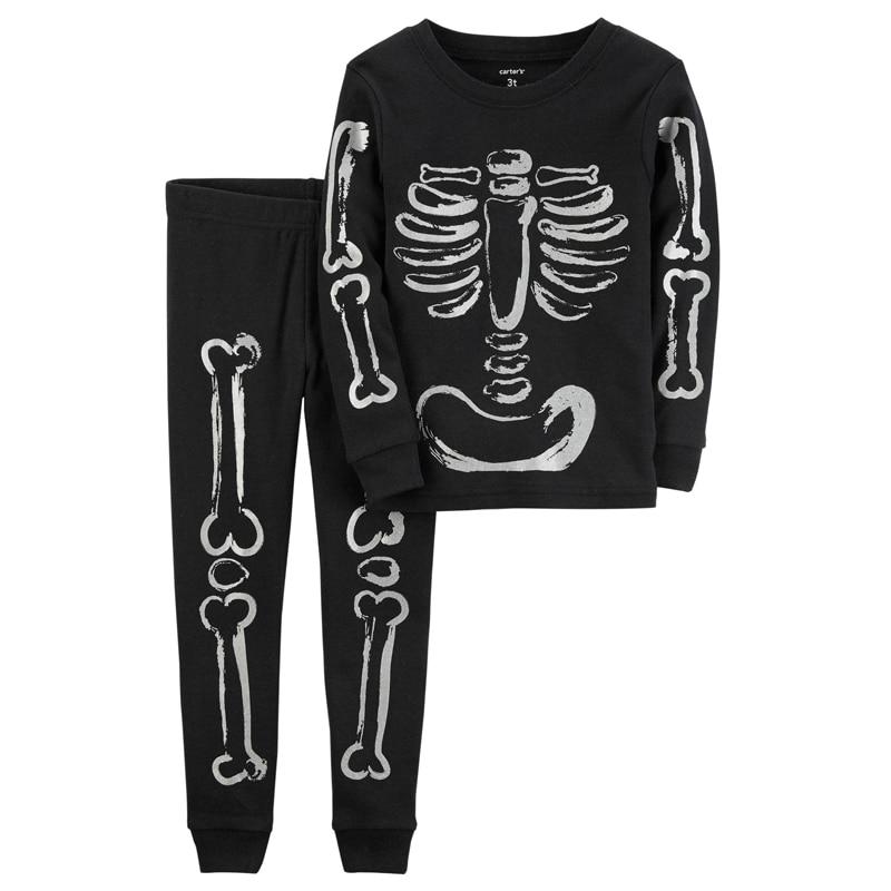 Glow In The Dark Skeleton Halloween Shirt Black Toddler Carter/'s Infant
