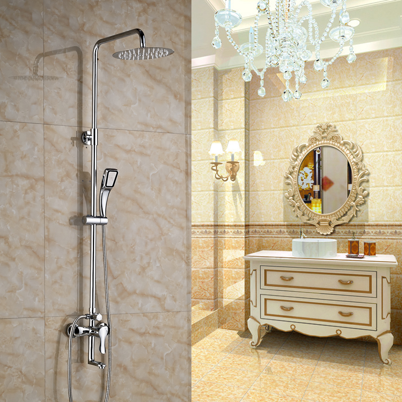 Chrome Finished Wall Mounted Bathroom Shower Set 8 Brass Shower Head + Shower Hose + Hand Shower shower hose sea pioneer 1 5m anti explosion stainless steel shower hose with solid brass