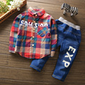 Free shipping 2017 spring autumn Plaid Shirt +jeans 2pcs suit baby boy cotton shirt set kids