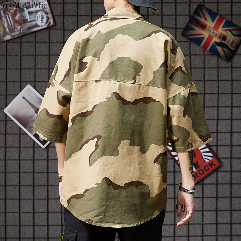 AreMoMuWha 2019 Summer New <font><b>Korean</b></font> <font><b>Style</b></font> Trend Camouflage Loose <font><b>Oversize</b></font> <font><b>Shirt</b></font> Tide <font><b>Men</b></font> and Women Couples with The Same Paragraph image