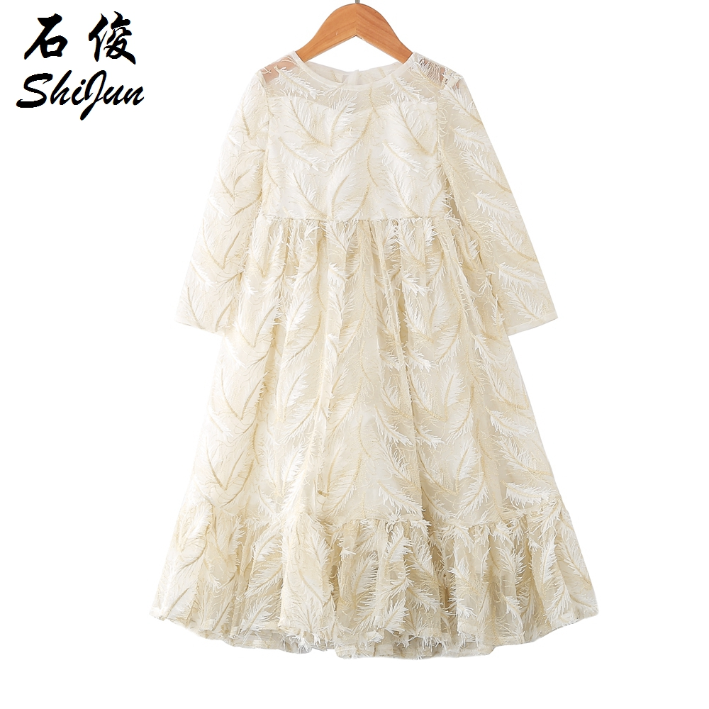MyLittleOne 2019 Summer Girls Birthday Dresses 2019 New Rococo Feather Luxury Lace Dress for Girls