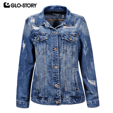 GLO-STORY Back Spliced Tassel Punk Fashion Loose Denim Jacket Women Distressed Hole Casaco Feminino Jeans Jackets Coat WFY-5862