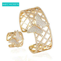MECHOSEN Luxury Butterfly Hollow Out Ring Bangle Wedding Jewelry Set For Women Banquet African Bride Hand Accessories Sets 2019