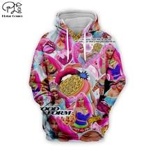 Sexy lady pink Nicki Minaj Hip-Hop singer 3d Hoodies Women/Men casual Cool Long Sleeve Sweatshirt zipper harajuku fashion Hooded