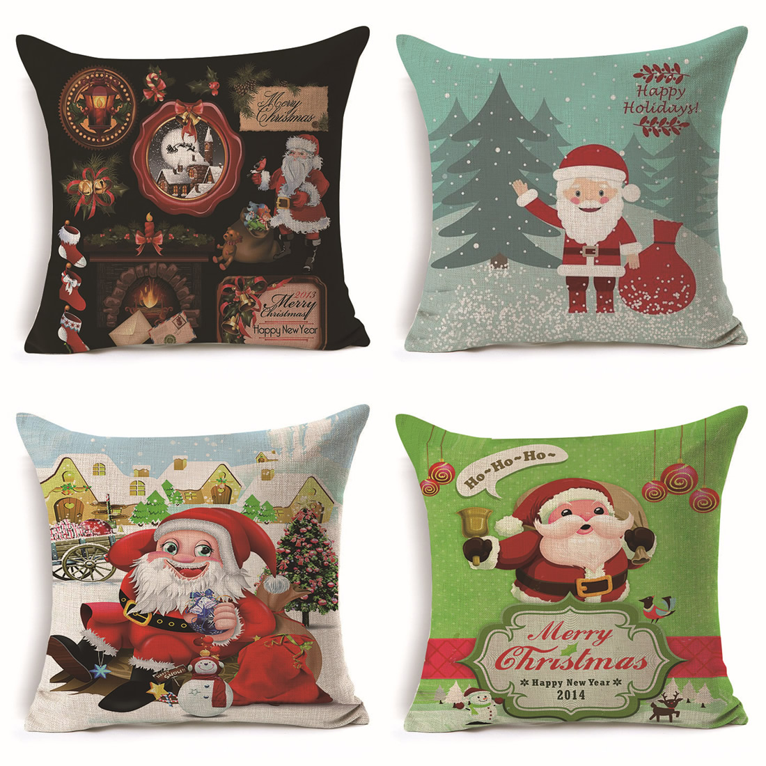 Flax Christmas Cushion Cover Pillow Case Pillowcase Decorative Throw Cover Home Textile Decorative 450x450mm F