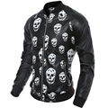 Skulls Printing Black Jacket Men Faux Leather Short Stand Collar Windbreak Coat Male Slim Fit Hip Hop Motorcycle Jackets Men