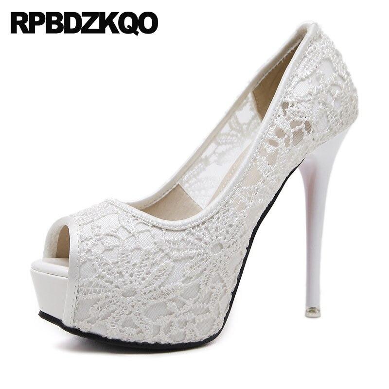 a30b6bed Extremo Tamaño 4 34 Peep Toe Alto Talones Verano Blanco Barato 33 Dama  Zapatillas Sexy 2018 Zapatos Ultra Plataforma Cordón Delgado 12cm 5 Pulgada  Verano ...