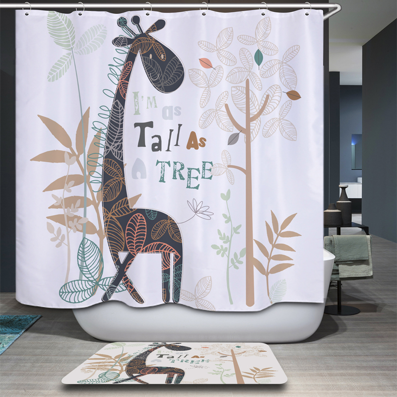 New Cat Cute Cartoon Arrival Waterproof Fabric Giraffe Design 3D Shower Curtain Bathroom Nature Bath