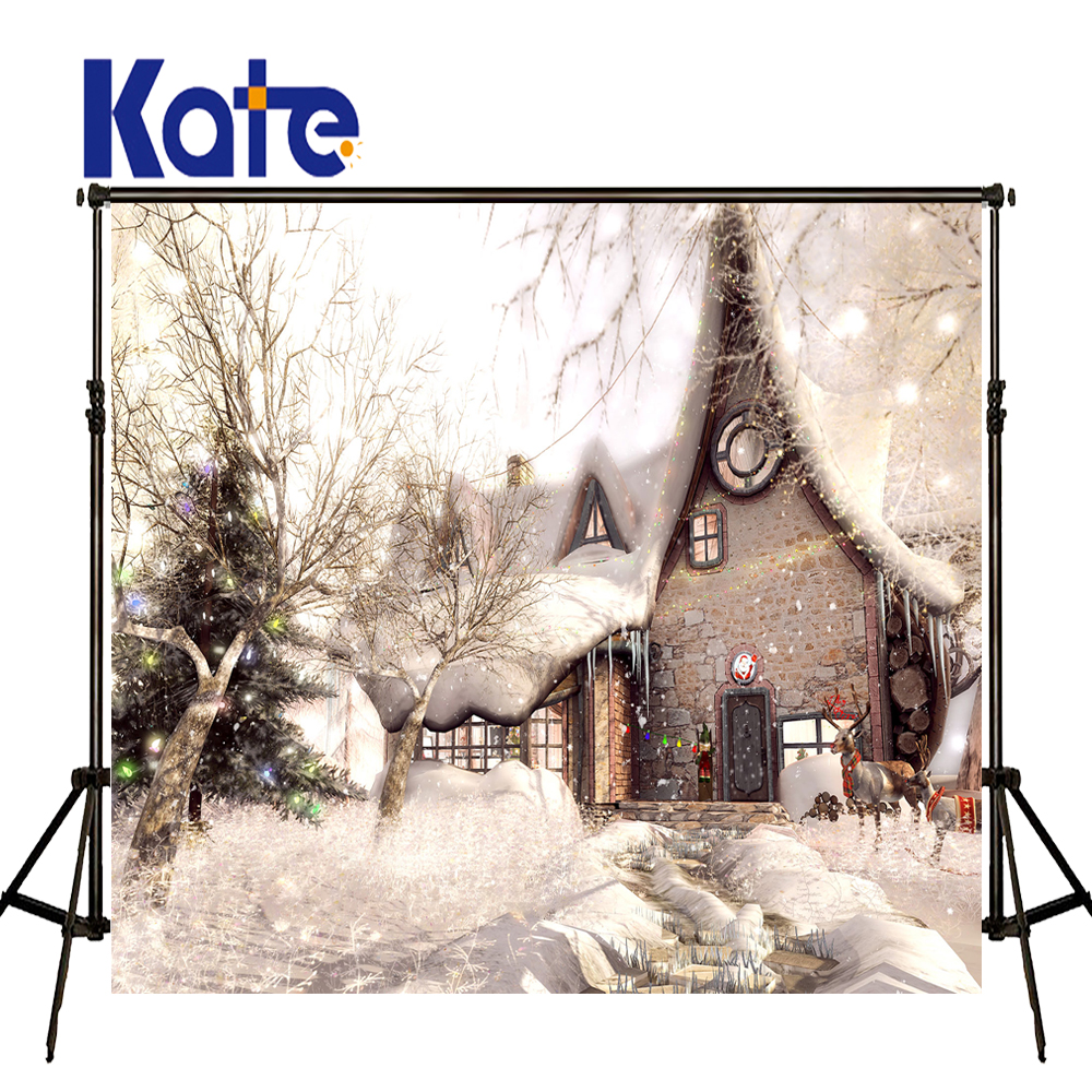 Kate Christmas Backdrop Backgrounds For Photo Studio Snow House Christmas Tree Photography Background Christmas Snowy Background 2016 new womens golf tshirts branded high quality dobby long sleeve breathable s 2xl 4 colors golf sport clothing free shipping