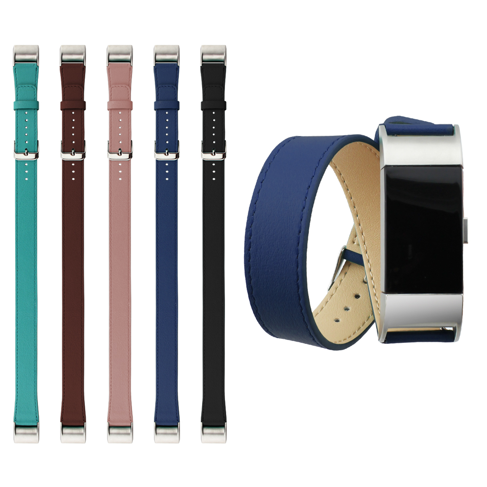 New Arrival Genuine Leather Double Tour Bracelet  Extra Long Real Leather Strap Watch Band For Fitbit Charge 2 Replacement Band 2016 new genuine leather soft wrist band watch strap for fitbit charge 2 tracker large small bracelet replacement acessory