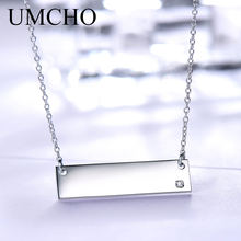 UMCHO Real 925 Sterling Silver Necklace Custom Name Bar Pendants Fashion Style Jewelry For Female Engagement Gift Fine Jewelry(China)