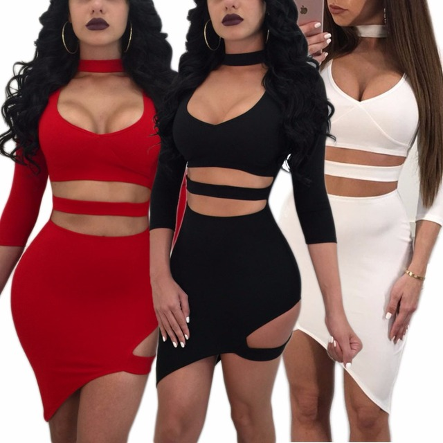 Sibybo Hollow Out V-Neck Bandage Sexy  Mini Dress