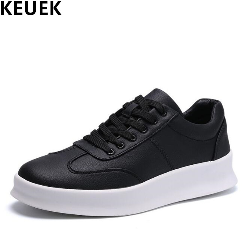 New arrival Spring Men Flats Lace Up Height Increased Casual shoes Breathable Leather Male Sneakers Loafers Black Red White 01B spring autumn fashion men high top shoes genuine leather breathable casual shoes male loafers youth sneakers flats 3a