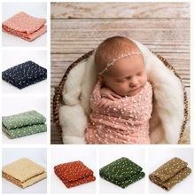 2017 Cute Baby Newborn Infant Stretch Swaddle Wrap+Headband Snow Photography Photo Props  MAY12_35
