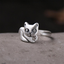 Fashion Lovely 100% 999 Sterling Silver Cute Cat Rings for Women Animal Open Ring Vintage Thai Jewelry
