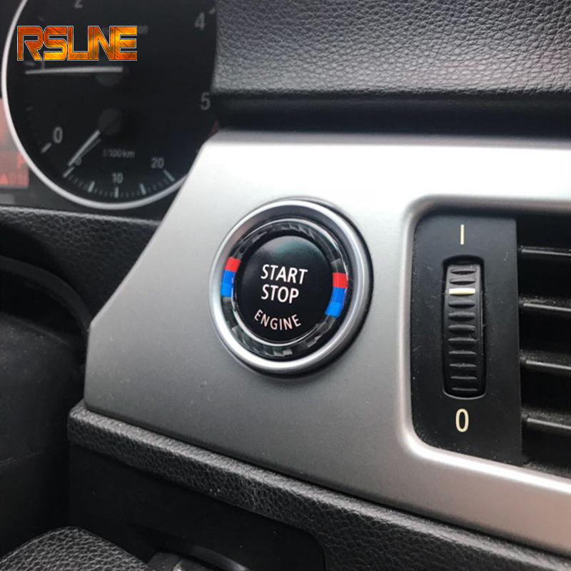 For BMW 3 Series E90 E92 E93 E89 Z4 M Sport Carbon Fiber Engine Start Stop Push Button Ignition Key Ring Decor Trim Car-Styling