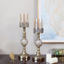 Europe Carving candleholders decoration Retro Metal Iron Craft Crystal Glass Candlestick Candlelight Dinner props Home Decoratio